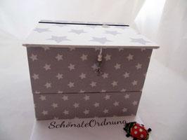 Sterne und Einhorn weiß grau, Schmuck-Turm, Kästen gestapelt, stabile Mädchenschmuckbox personalisiert