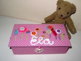 fröhliche Kinder-Schmuckbox klein, Lolli Pop,  personalisiert, Lolli Pop rose´