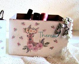Stifte-Sortier-Box sehr groß, personalisiert,  Boho-RosenReh Theresa, Geschenk zum Kindergartenstart, ersten Schultag, zum Geburtstag verschenken