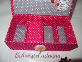 Pink getupfte, kleine Kinder-Schatzkiste, personalisiert