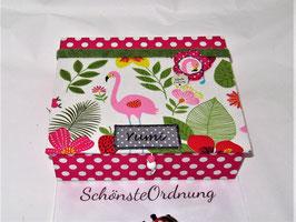 Flamingo pink, personalisierte  Kinderschmuck-Schatulle , Schatzkästlein