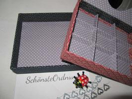 Japanstoff-Wellen rot klein, Stapel-Box ohne Deckel, Höhe 6 cm, im Außenstoff deiner Schmuckbox, Schubladenbox