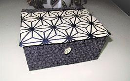 sehr großer, stabiler Schmuckkasten, Asanoha Dunkel-Blau und Weiß, ein großartiges Frauen-Geschenk pesonalisierbar