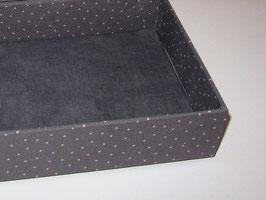 graue Stapelbox mit edlem Leinenstoff, Box ohne Deckel, Höhe 6 cm, im Außenstoff deiner Schmuckbox, Schubladenbox