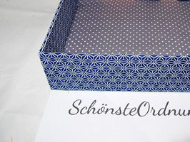 Asanoha blau, Stapel-Box ohne Deckel, Höhe 6 cm, im Außenstoff deiner Schmuckbox, Schubladenbox