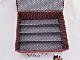 Stapel-Box für mittelgroß und XL ohne Deckel, Höhe 5 cm, im Außenstoff deiner Box, Wellen Rot, Schubladenbox, mit Fächern