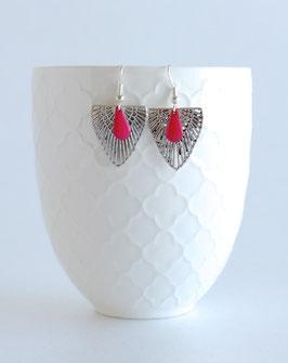 Boucles d'oreilles triangulaires Argentées, Art Déco avec petit sequin en émail