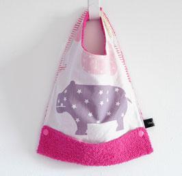 Bavoir évolutif rose / hippopotame, étoile, rond, pois / pratique avec récupérateur repas bébé / cadeau liste de naissance bébé