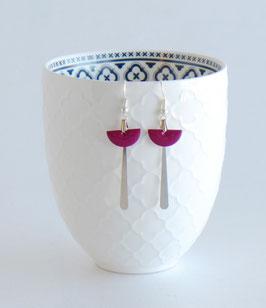Boucles d'oreilles Art Déco Argentées, Demi-lune Email Rose, Orange ou Bordeaux