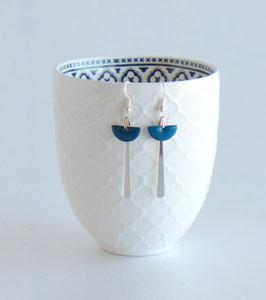 Boucles d'oreilles Art Déco Argentées, Demi-lune Email Vert ou Bleu