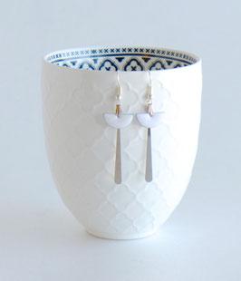 Boucles d'oreilles Art Déco Argentées, Demi-lune Email blanc, jaune, moutarde ou violet