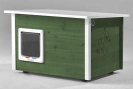 Katzenhaus - Katzenhütte mit Heizung & Katzenklappe, Wände & Boden isoliert - Farbe: lindgrün