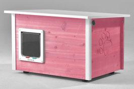 Katzenhaus - Katzenhütte mit Heizung & Katzenklappe, Wände & Boden isoliert - Farbe: violett