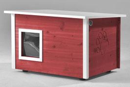 Katzenhaus - Katzenhütte, mit Heizung, Wände & Boden isoliert - Farbe: schwedisch-rot