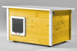 Katzenhaus - Katzenhütte mit Heizung & Katzenklappe, Wände & Boden isoliert - Farbe: gelb