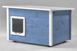 Katzenhaus - Katzenhütte mit Heizung & Katzenklappe, Wände & Boden isoliert - Farbe: taubenblau