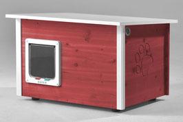 Katzenhaus - Katzenhütte mit Katzenklappe, Wände & Boden isoliert - Farbe: schwedisch-rot
