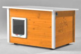 Katzenhaus - Katzenhütte mit Heizung & Katzenklappe, Wände & Boden isoliert - Farbe: orange