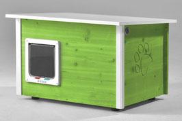 Katzenhaus - Katzenhütte mit Katzenklappe, Wände & Boden isoliert - Farbe: hellgrün