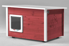 Katzenhaus - Katzenhütte mit Heizung & Katzenklappe, Wände & Boden isoliert - Farbe: schwedisch-rot