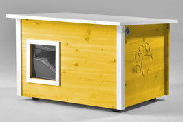 Katzenhaus - Katzenhütte, mit Heizung, Wände & Boden isoliert - Farbe: gelb