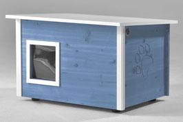 Katzenhaus - Katzenhütte, mit Heizung, Wände & Boden isoliert - Farbe: taubenblau