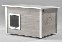 Katzenhaus - Katzenhütte mit Katzenklappe, Wände & Boden isoliert - Farbe: grau