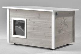 Katzenhaus - Katzenhütte, mit Heizung, Wände & Boden isoliert - Farbe: grau