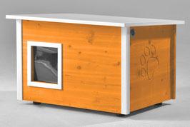 Katzenhaus - Katzenhütte, mit Heizung, Wände & Boden isoliert - Farbe: orange