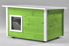 Katzenhaus - Katzenhütte, mit Heizung, Wände & Boden isoliert - Farbe: hellgrün