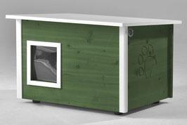 Katzenhaus - Katzenhütte, mit Heizung, Wände & Boden isoliert - Farbe: lindgrün