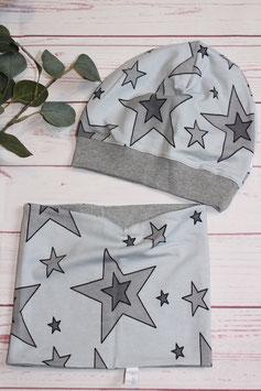 "SET Mütze & Loop ""Stars grau"""