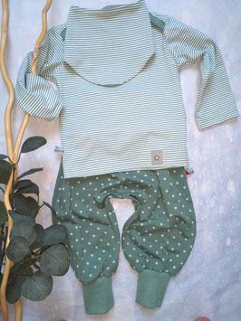 Baby Set 3-teilig, tannengrün Sterne