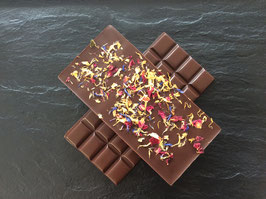 Zartbitter Schokolade 55% mit Blütenmix  - 95 Gramm