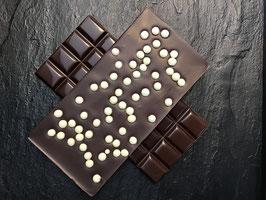 Zartbitter Schokolade 55% mit weißen knusprigen Perlen - 95 Gramm