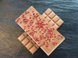 Vollmilch Schokolade 35% mit Rosa Beeren - 95 Gramm