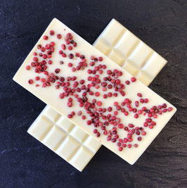 Weiße Schokolade 35%  mit Rosa Beeren - 95 Gramm