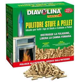 Diavolina pellet spazzacamino pulizia stufa e canna fumaria