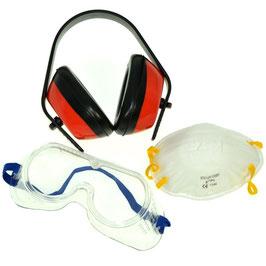 Set protezione con cuffia occhiali e mascherina