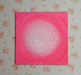 Blume des Lebens, rosa-pink-silber 3/20
