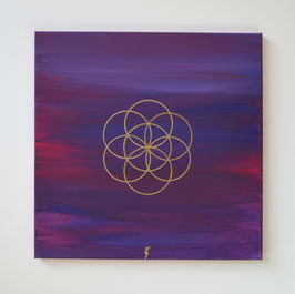 Blume des Lebens im Ursprung, lila-magenta-gold 46/19