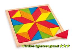 """Mosaik-Puzzle """"Stern"""", geometrische Formen als Legemuster, Holzelemente aus Buchenholz, Holzspielzeug"""