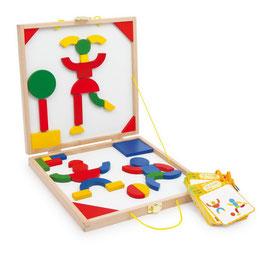 """Magnetkoffer """"Logik"""", Lernspiel mit vielen bunten Holzteilen, Puzzle-Lernartikel"""