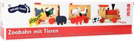 Zoobahn mit Tieren, Motorikspielzeug zum Ziehen, Eisenbahnen, Holzspielsachen