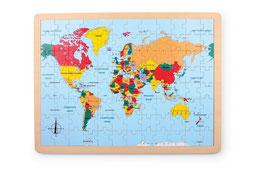 """Puzzle """"Länder der Welt"""", Lernspiel für Kenntnisse in Geographie / Erdkunde, Kontinente und Weltmeere, aus stabilem Schichtholz"""