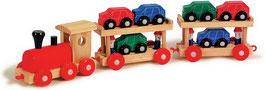 Autoreisezug, Eisenbahnen mit Fahrzeuge-Autos, Kinder-Holzspielsachen