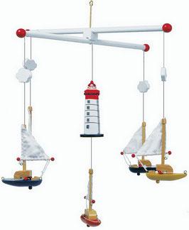 """Mobile """"Segelboote mit Leuchtturm"""", Kinderzimmermöbel u. Zubehör, Schiffe-Zubehör, Holzspielzeug"""