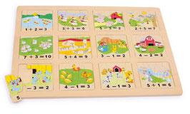 """Puzzle """"Tiere zählen"""" Lernartikel für den spielerischen Umgang mit Zahlen, Bauernhof-Motive aus Holz"""