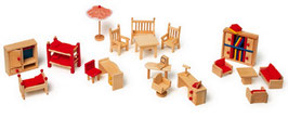Puppenmöbel mit Garten für Puppenhäuser u. Zubehör, Holzspielzeug