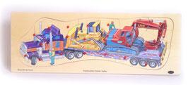 """Puzzle """"Baumaschinen"""", Bauen u. Konstruieren, Fahrzeuge-Autos, Schwertransporter-Holzpuzzle"""